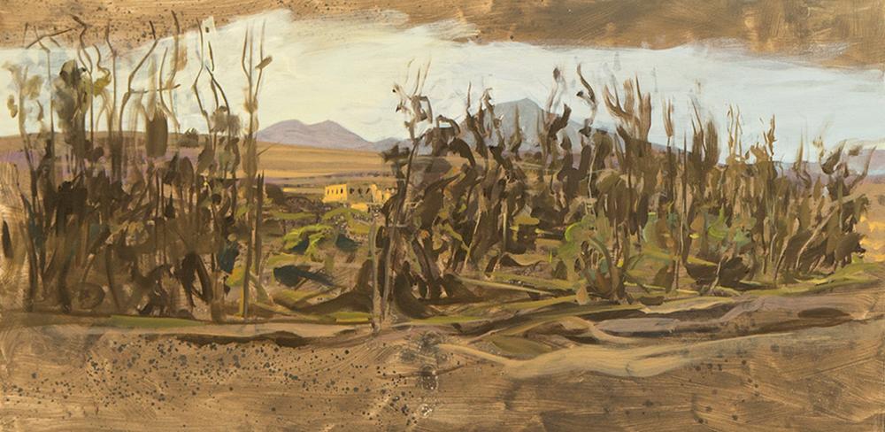 Ricardo Wiesse. Casa de las vírgenes del sol, óleo sobre tela, 70 x 120 cms. 2016.png