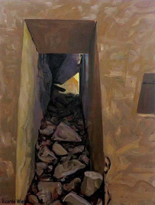 Ricardo Wiesse. Casa de las virgenes del sol, óleo sobre tela, 70 x 50 cms. 2016